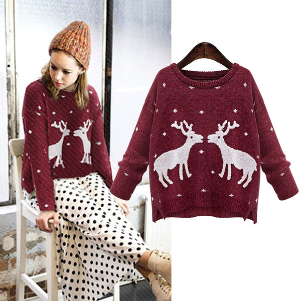 Green Gray Rose Pink O-neck Deer Pattern Long Sleeve Pullovers for Women