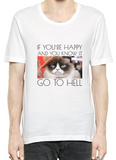 Grumpy Cat If You're Happy And You Know It T-Shirt For Men