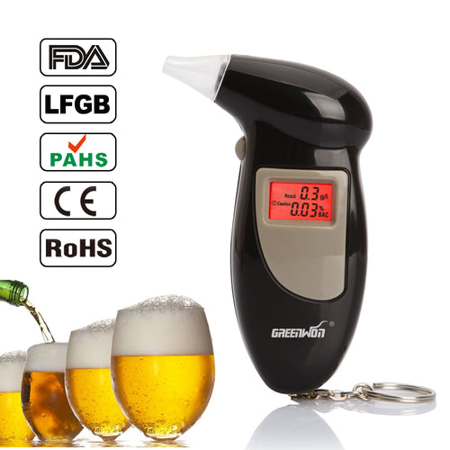Portable Digital Key Chain Alcohol Tester or Breathalyser with Backlight