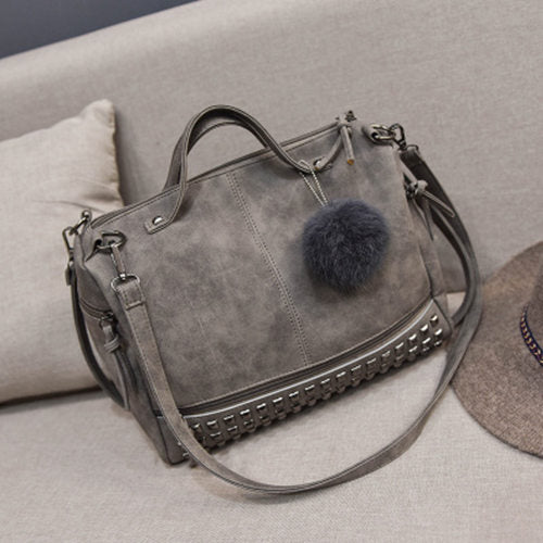 Vintage Leather Top-handle Bags, Hair Ball Shoulder Bag Motorcycle Messenger Bag for Women