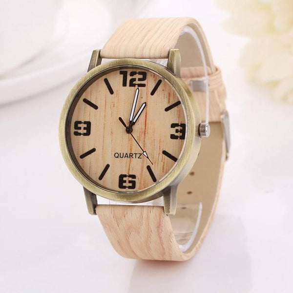 Vintage PU Leather Wood Grain Wristwatches for Women