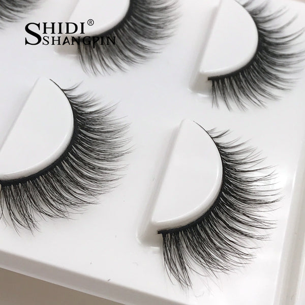 3 pairs long makeup natural false mink eyelashes for beauty