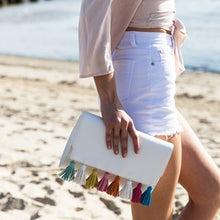Multi Tassel Flap Over Clutch
