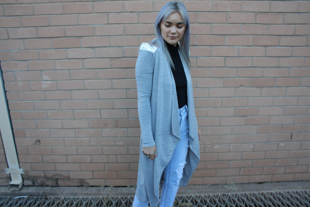 Waterfall Midi Jacket Grey/Silver