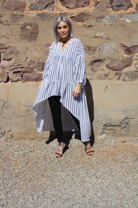 Long Sleeve Striped Hi/Lo top