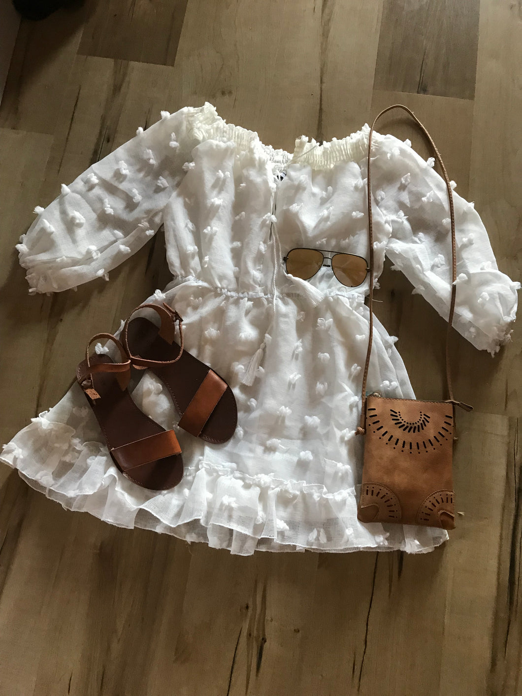 Textured White Off The Shoulder Mini Dress