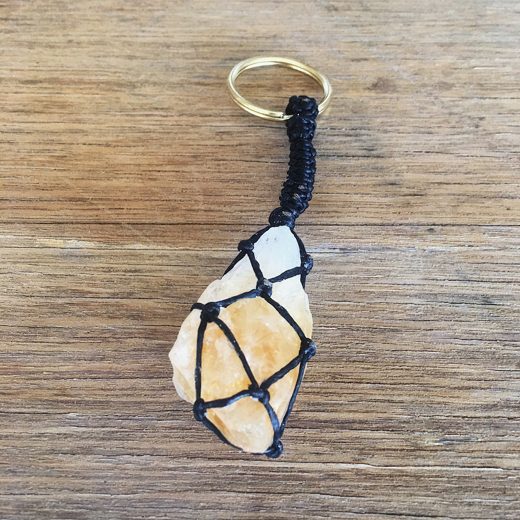 Raw Citrine Point Key Chain