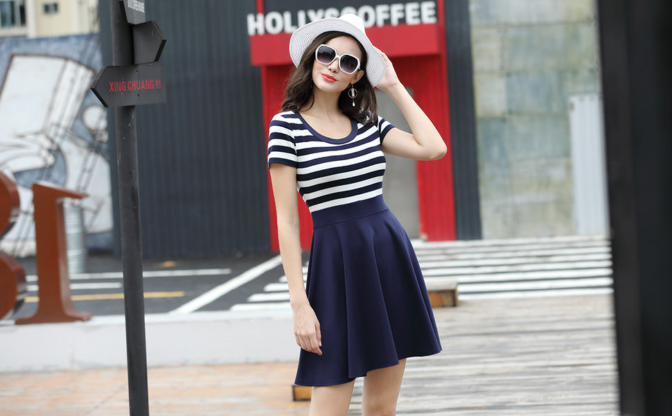 Casual Navy Style Summer Party Mini Dress