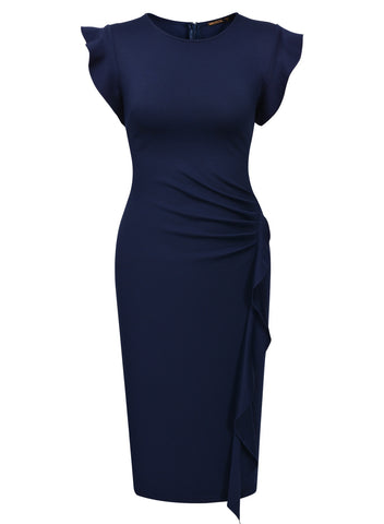 Ruffles Slim Business Office Pencil Dress