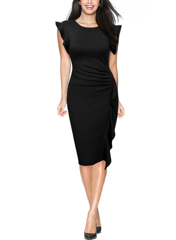 Ruffles Slim Business Office Pencil Dress - Miusol