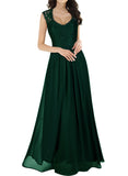 Deep- V Neck Sleeveless Vintage Wedding Maxi Dress