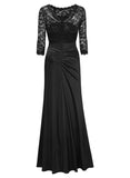 Retro Floral Lace Slim Ruched Wedding Maxi Dress - Miusol