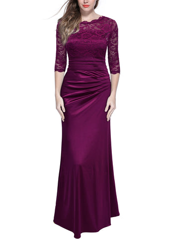 Retro Floral Lace Ruched Bridesmaid Maxi Dress - Miusol
