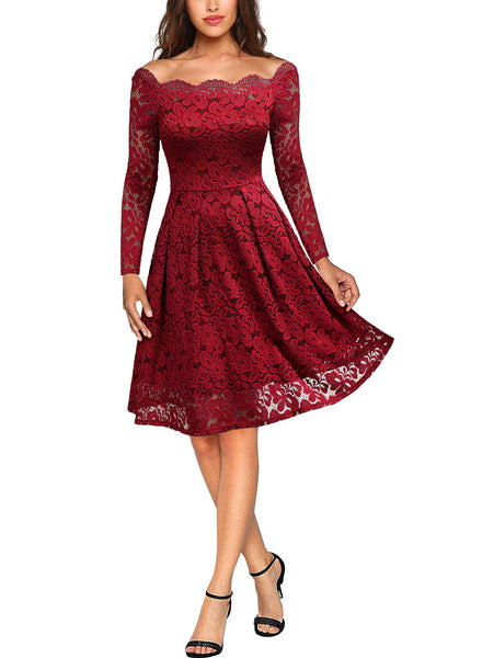Floral Lace Long Sleeve Boat Neck Dress - Miusol