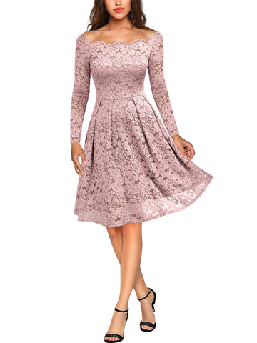 Lace Long Sleeve Boat Neck Swing Dress - Miusol