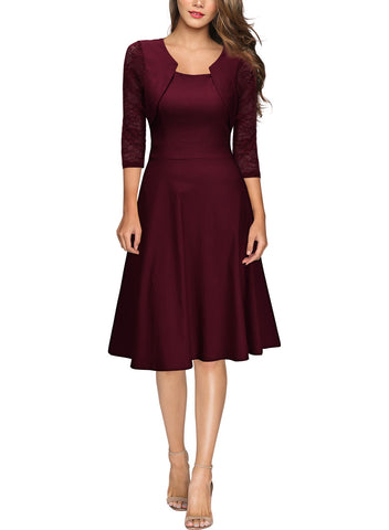 Square Neck Floral Lace Cocktail Swing Dress - Miusol