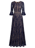 Vintage Full Lace Contrast Bell Sleeve Formal Maxi  Dress - Miusol