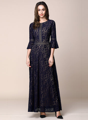 Vintage Full Lace Contrast Bell Sleeve A-Line Maxi Dress - Miusol