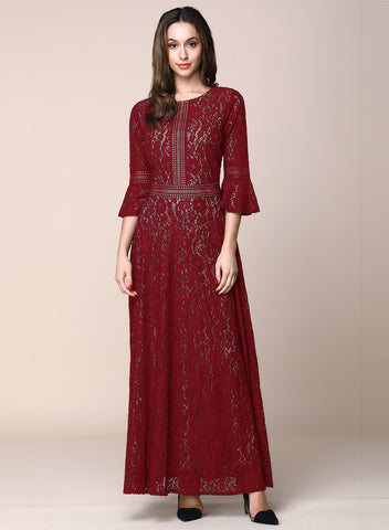 Vintage Full Lace Contrast Bell Sleeve Big Swing A-Line Dress