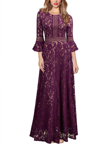 Vintage Full Lace Contrast Bell Sleeve Formal Long Dress - Miusol