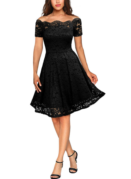 Vintage Lace Short Sleeve Boat Neck Swing Dress - Miusol