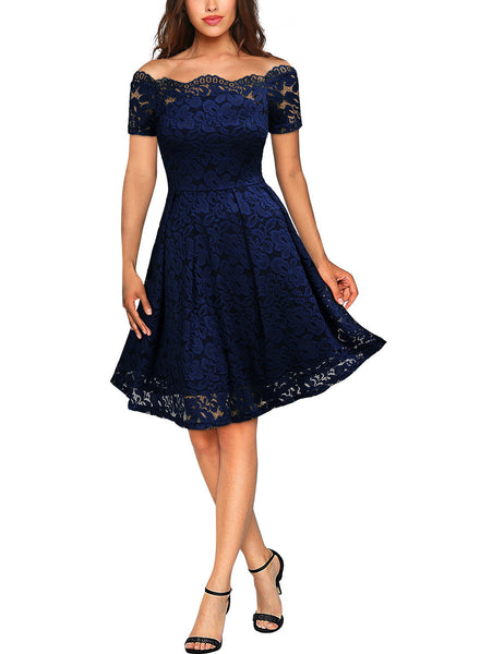 Floral Lace Short Sleeve Boat Neck Dress - Miusol