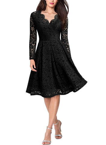 V Neck Long Sleeve Cocktail Party Dress - Miusol