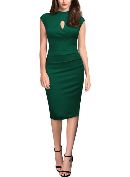 Slim Cap Sleeveless Pencil Knee Dress