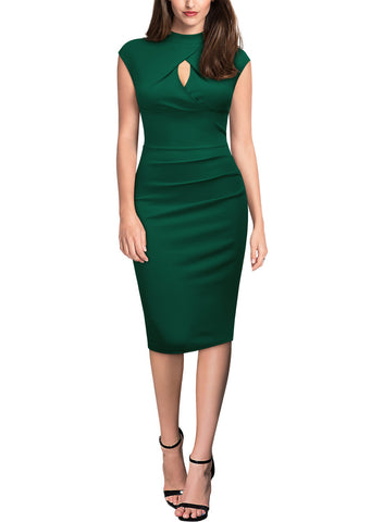Slim Cap Sleeveless Pencil Knee Length Dress