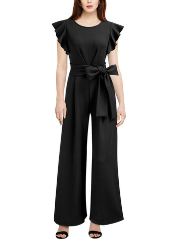 High Waist Ruffle Jumpsuit with Belt - Miusol