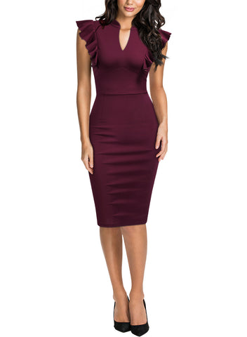 Ruffle Sleeve V-Neck Pencil Dress - Miusol