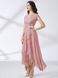 Formal Floral Lace Ruffle Wedding Party Dress - Miusol