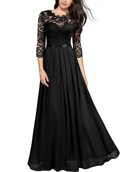 Formal Floral Lace Wedding Bridesmaid Maxi Dress - Miusol