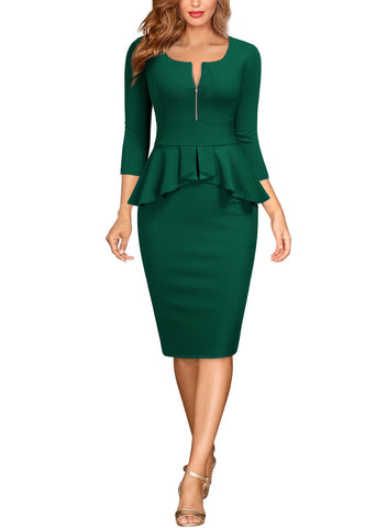 Square Neck Business Pencil Dress - Miusol