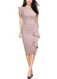 Business Office Ruffles Slim Pencil Dress - Miusol