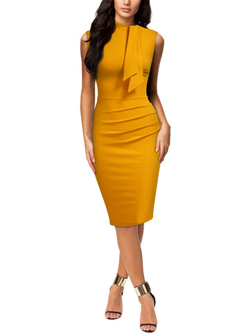 Retro Style Half Collar Cocktail Pencil Dress - Miusol