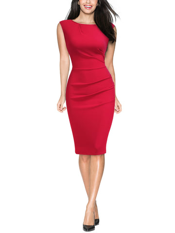 Ruffle Style Slim Work Pencil Dress - Miusol