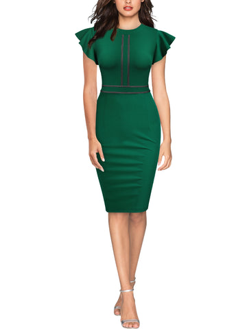 Sleeveless Ruffle Style Cocktail Pencil Dress - Miusol
