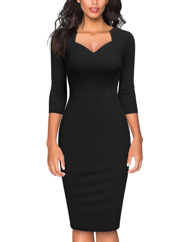 Retro V Neck Ruffle Slim Cocktail Party Dress - Miusol