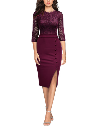 Formal Floral Lace Split Slim Party Dress - Miusol