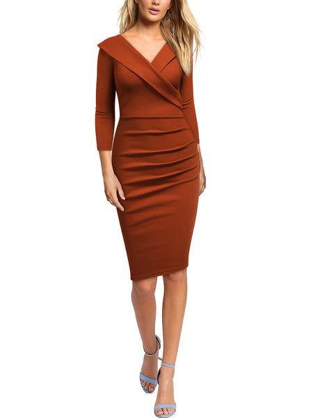 Formal Business Criss Cross V-Neck Work Pencil Dress - Miusol