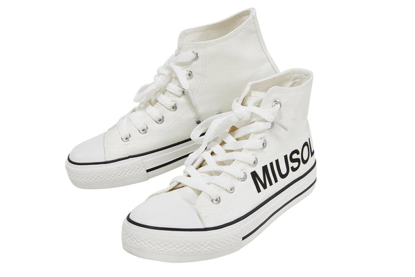 Miusol Women High Top Lace Up Canvas Sneakers - Miusol