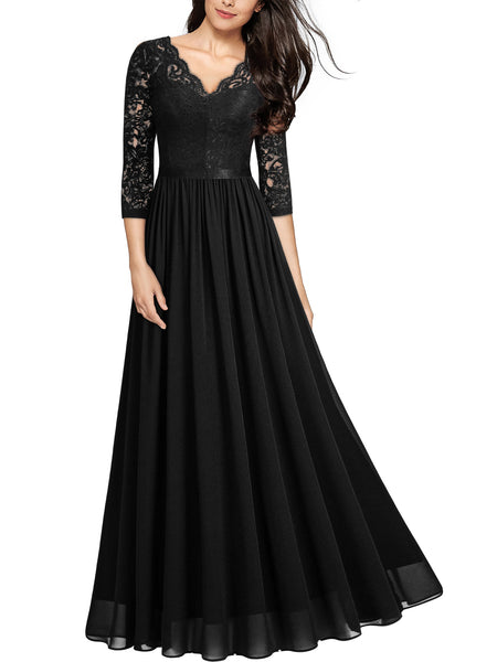 V Neck Lace Evening Bridesmaid Formal Long Dress - Miusol