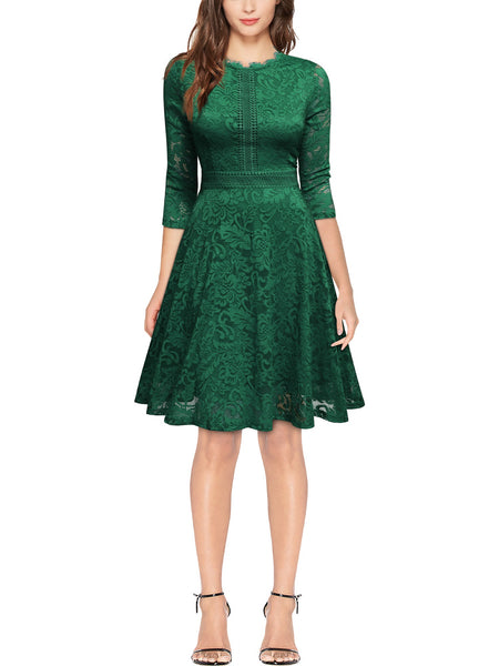 Vintage Full Lace Swing A-Line Dress - Miusol