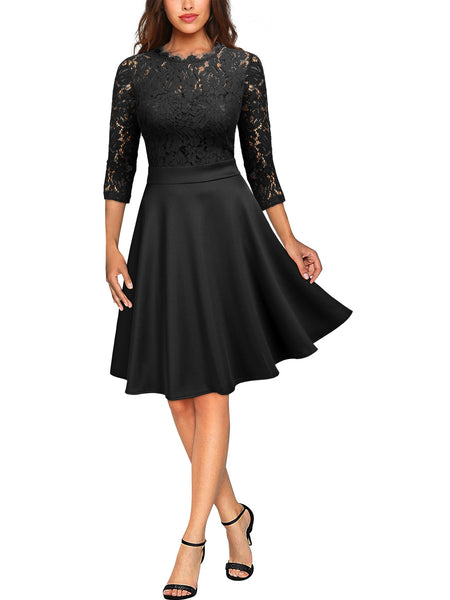 Floral Lace Half Sleeve Boat Neck Dress - Miusol