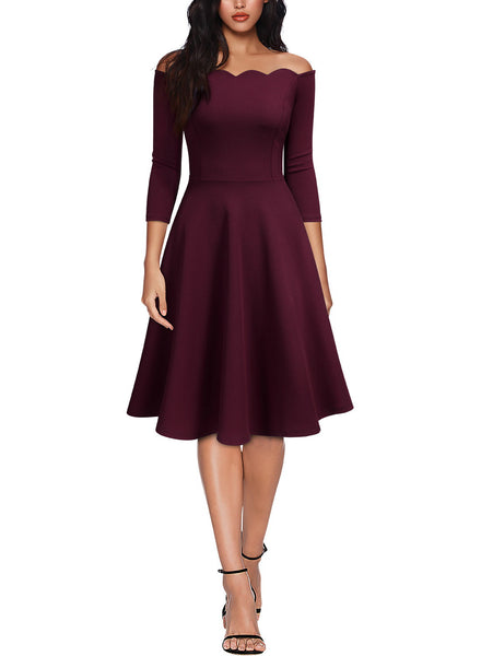 Boat Neck Formal Cocktail Swing Dress - Miusol