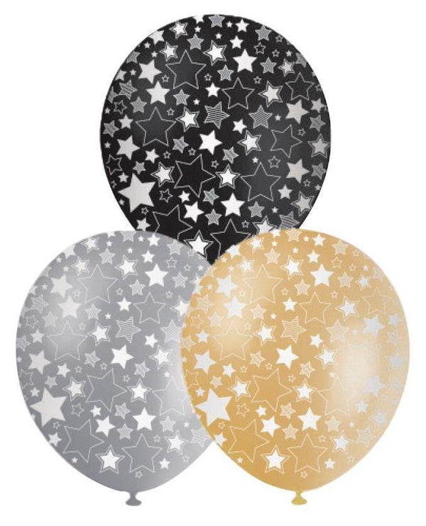 BALLOONS PRINTED STARS‐ 10pcs-POPALOONPARTY