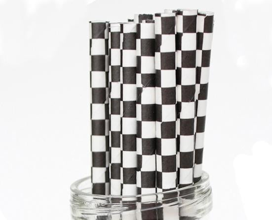 Black Checked White Straws-POPALOONPARTY