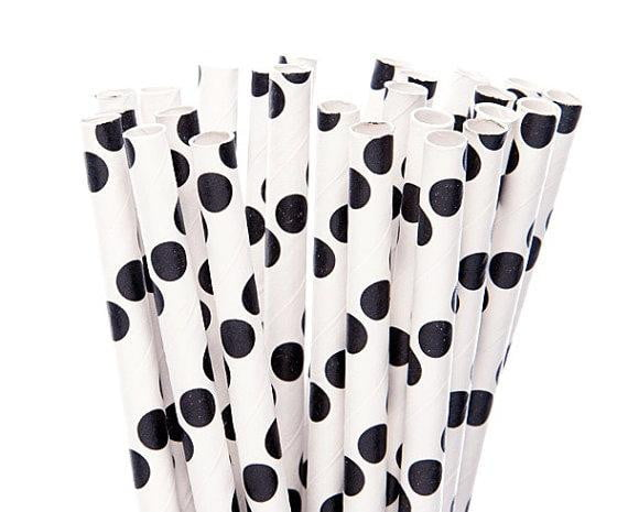 Black Polka Dots White Straw-POPALOONPARTY