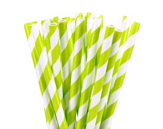 Citrus Green Stripe Paper Straws-POPALOONPARTY